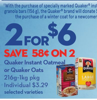 Quaker Instant Oatmeal or Quaker Oats