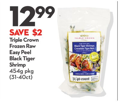Triple Crown Frozen Raw Easy Peel Black Tiger Shrimp