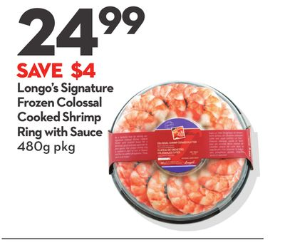 Longo's Signature Frozen Colossal Cooked Shrimp Cooked Shrimp Ring With Sauce
