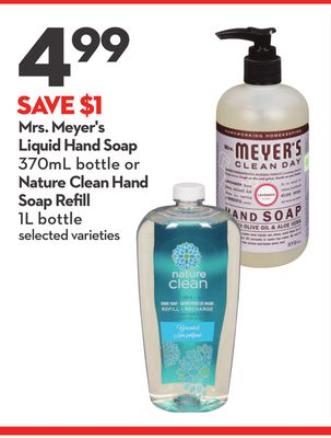 Mrs. Meyer's Liquid Hand Soap 370ml Bottle or Nature Clean Hand Soap Refill 1l Bottle