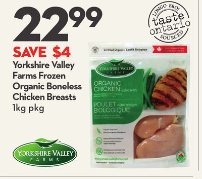 Yorkshire Valley Farms Frozen Organic Boneless Chicken Breasts