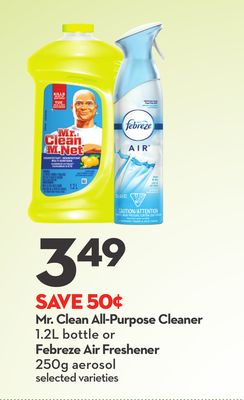 Mr. Clean All-purpose Cleaner 1.2l Bottle or Febreze Air Freshener 250g Aerosol