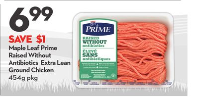 Maple Leaf Prime Raised Without Antibiotics Extra Lean Ground Chicken