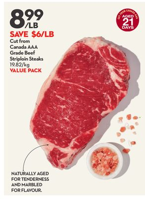 Cut From Canada Aaa Grade Beef Striploin Steaks