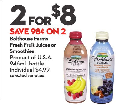 Bolthouse Farms Fresh Fruit Juices or Smoothies