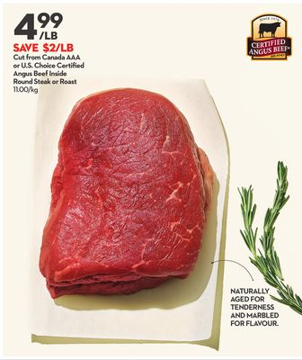 Certified Angus Beef Inside Round Steak or Roast