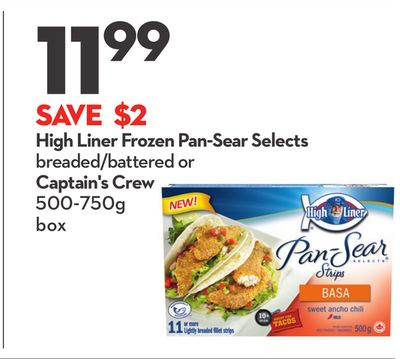 High Liner Frozen Pan-sear Selects Breaded/battered or Captain's Crew