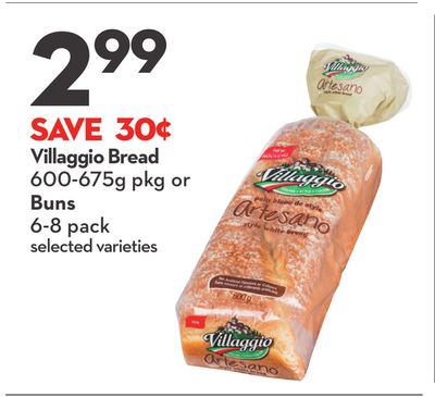 Villaggio Bread 600-675g Pkg or Buns 6-8 Pack