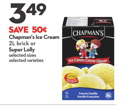 Chapman's Ice Cream 2l Brick or Super Lolly