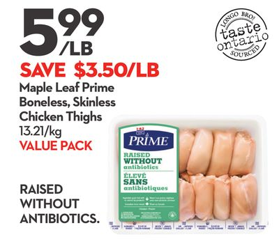 Maple Leaf Prime Boneless - Skinless Chicken Thighs