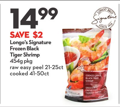 Longo's Signature Frozen Black Tiger Shrimp