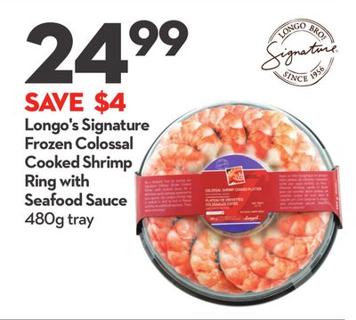 Longo's Signature Frozen Colossal Cooked Shrimp Ring With Seafood Sauce