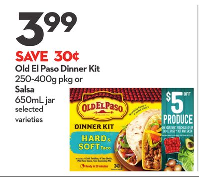 Old El Paso Dinner Kit 250-400g Pkg or Salsa 650ml Jar