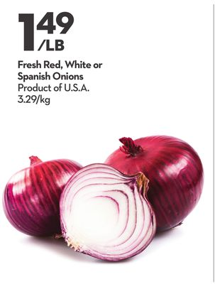 Fresh Red - White or Spanish Onions