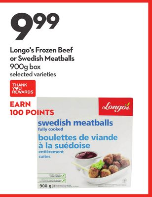 Longo's Frozen Beef or Swedish Meatballs