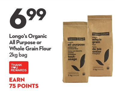 Longo's Organic All Purpose or Whole Grain Flour