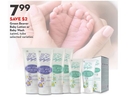 Green Beaver Baby Lotion or Baby Wash