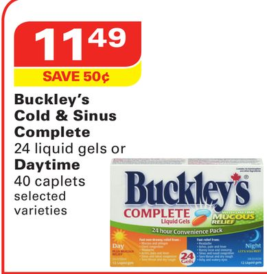 Buckley's Cold & Sinus Complete 24 Liquid Gels or Daytime 40 Caplets