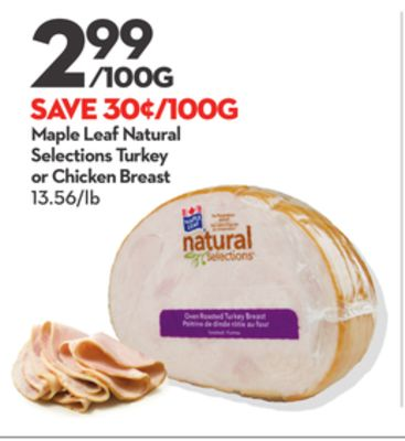 Maple Leaf Natural Selections Turkey or Chicken Breast