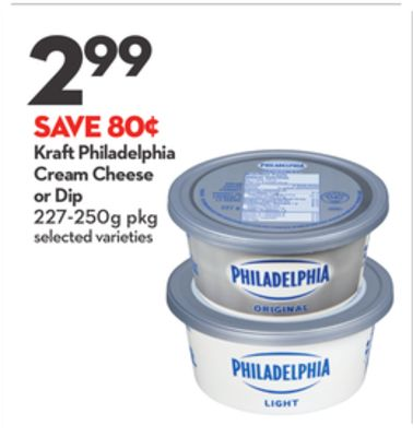 Kraft Philadelphia Cream Cheese or Dip
