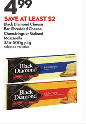 Black Diamond Cheese Bar - Shredded Cheese - Cheestrings or Galbani Mozzarella
