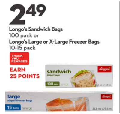 Longo's Sandwich Bags 100 Pack or Large or X-large Freezer Bags 10-15 Pack