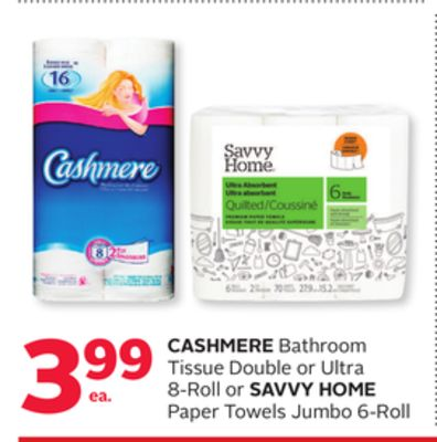 Cashmere Bathroom Tissue Double Or Ultra 8-roll Or Savvy Home Paper Towels Jumbo 6-roll