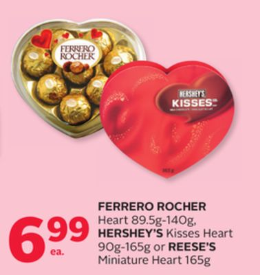 Ferrero Rocher Heart 89.5g-140g - Hershey's Kisses Heart 90g-165g Or Reese's Miniature Heart 165g