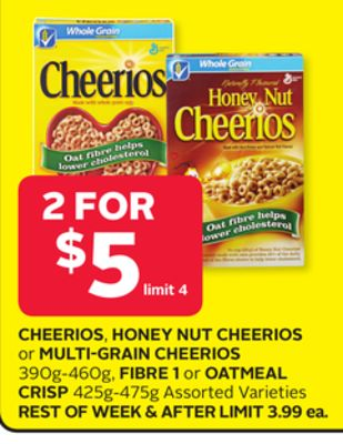 Cheerios.honey Nut Cheerios Or Multi-grain Cheerios 390g-460g - Fibre 1 Oroatmeal Crisp 425g-475g