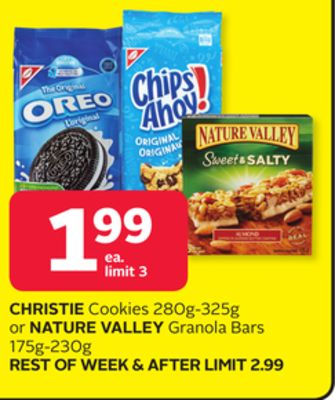 Christie Cookies 280g-325g or Nature Valley Granola Bars 175g-230g