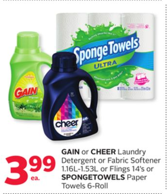 Gain or Cheer Laundry Detergent or Fabric Softener 1.16l-1.53l or Flings 14's or Spongetowels Paper Towels 6-roll