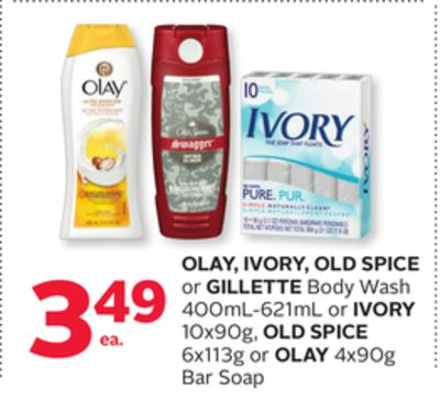 Olay - Ivory - Old Spice or Gillette Body Wash 400ml-621ml or Ivory 10x90g - Old Spice 6x113g or Olay 4x90g Bar Soap