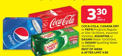 Coca-cola - Canada Dry Or Pepsi Products Regular Or Diet 12x355ml Assorted Varieties - Aquafina Or Dasani Water 12x500ml Or Dasani Sparkling Water 12x355ml