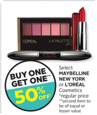 Select Maybelline New York Or L'oréal Cosmetics