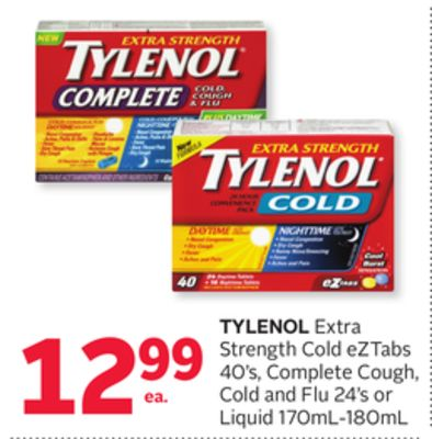 Tylenol Extra Strength Cold Eztabs 40's - Complete Cough - Cold and Flu 24's or Liquid 170ml-180ml