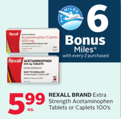 Rexall Brand Extra Strength Acetaminophen Tablets Or Caplets - 6 Bonus Air Miles Reward Miles