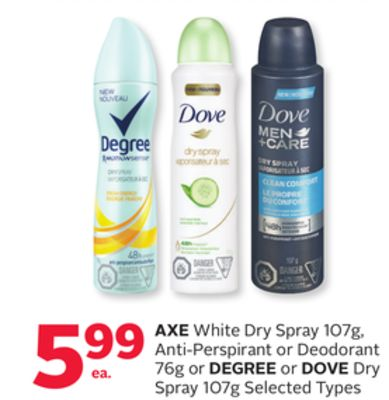 Axe White Dry Spray 107g Anti-perspirant or Deodorant 76g or Degree or Dove Dry Spray 107g