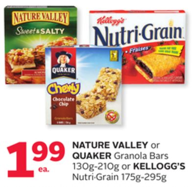 Nature Valley Or Quaker Granola Bars 130g-210g Or Kellogg's Nutri·grain 175g-295g