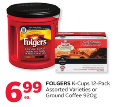 Folgers K-cups 12-pack or Ground Coffee 920g