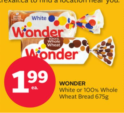 Wonder White or 100% Whole Wheat Bread