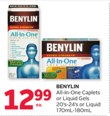 Benylin All-in-one Caplets or Liquid Gels 20's-24's or Liquid 170ml-180ml
