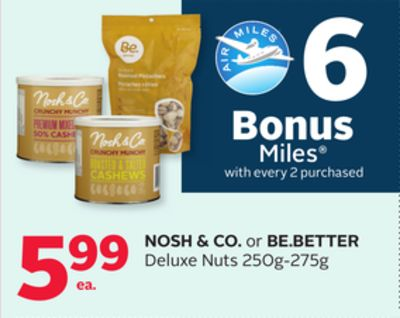 Nosh & Co. or Be.better Deluxe Nuts - 6 Bonus Air Miles Reward Miles