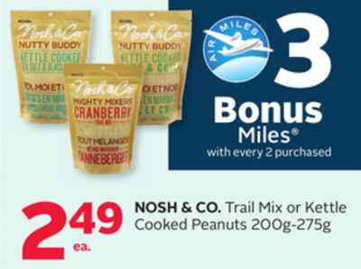 Nosh & Co. Trail Mix or Kettle Cooked Peanuts - 3 Bonus Air Miles Reward Miles
