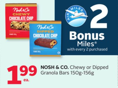 Nosh & Co. Chewy or Dipped Granola Bars - 2 Bonus Air Miles Reward Miles