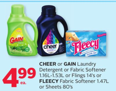 Cheer or Gain Laundry Detergent or Fabric Softener 1.16l-1.53l or Flings 14's Or Fleecy Fabric Softener 1.47l or Sheets 80's