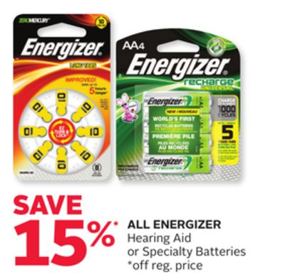 All Energizer Hearing Aid or Specialty Batteries