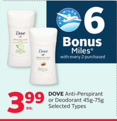 Dove Anti-perspirant or Deodorant - 6 Bonus Air Miles Reward Miles