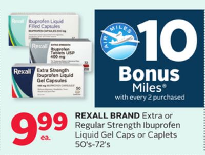 Rexall Brand Extra or Regular Strength Ibuprofen Liquid Gel Caps or Caplets - 10 Bonus Air Miles Reward Miles