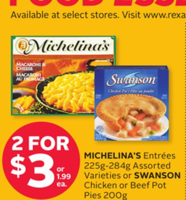Michelina's Entrées 225g-284g or Swanson Chicken or Beef Pot Pies 200g