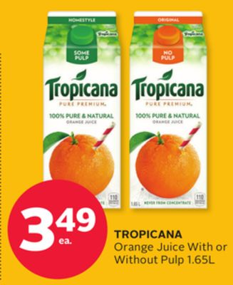 Tropicana Orange Juice With or Without Pulp